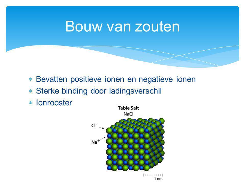  Bevatten positieve ionen en negatieve ionen  Sterke binding door ladingsverschil  Ionrooster Bouw van zouten