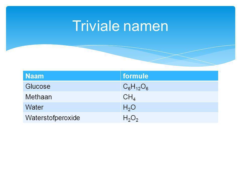 Naamformule GlucoseC 6 H 12 O 6 MethaanCH 4 WaterH2OH2O WaterstofperoxideH2O2H2O2 Triviale namen