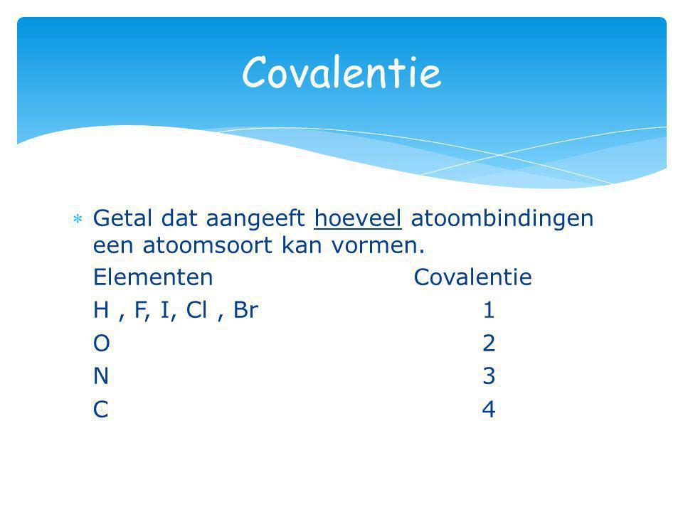 Getal dat aangeeft hoeveel atoombindingen een atoomsoort kan vormen. ElementenCovalentie H, F, I, Cl, Br 1 O 2 O 2 N 3 N 3 C 4 C 4 Covalentie