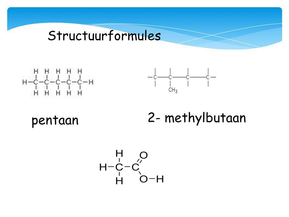 Structuurformules pentaan 2- methylbutaan
