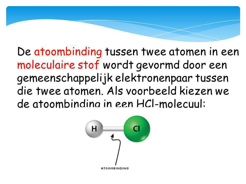 De atoombinding tussen twee atomen in een moleculaire stof wordt gevormd door een gemeenschappelijk elektronenpaar tussen die twee atomen. Als voorbee
