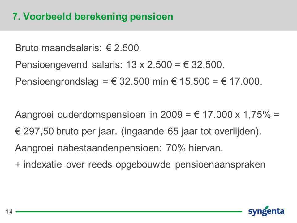 14 7.Voorbeeld berekening pensioen Bruto maandsalaris: € 2.500.