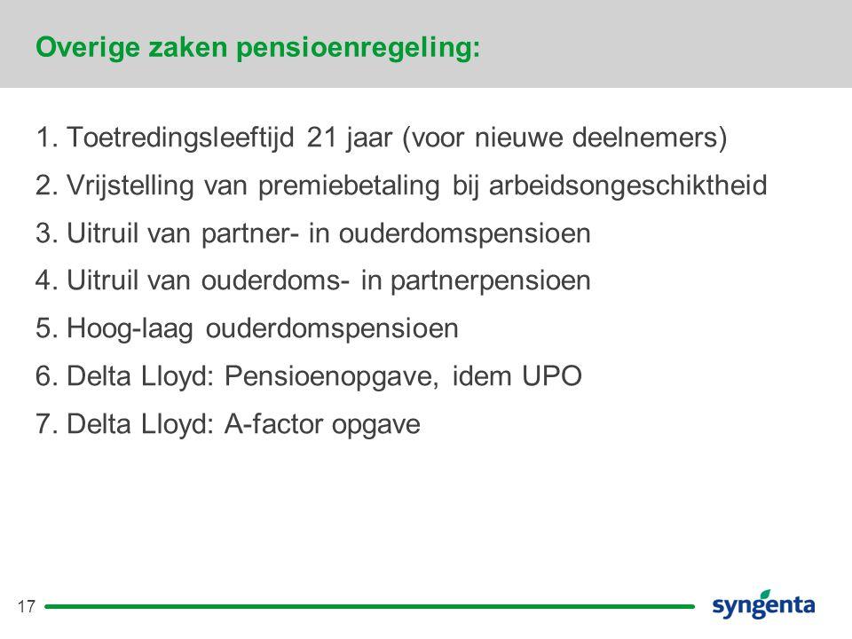 17 Overige zaken pensioenregeling: 1.Toetredingsleeftijd 21 jaar (voor nieuwe deelnemers) 2.