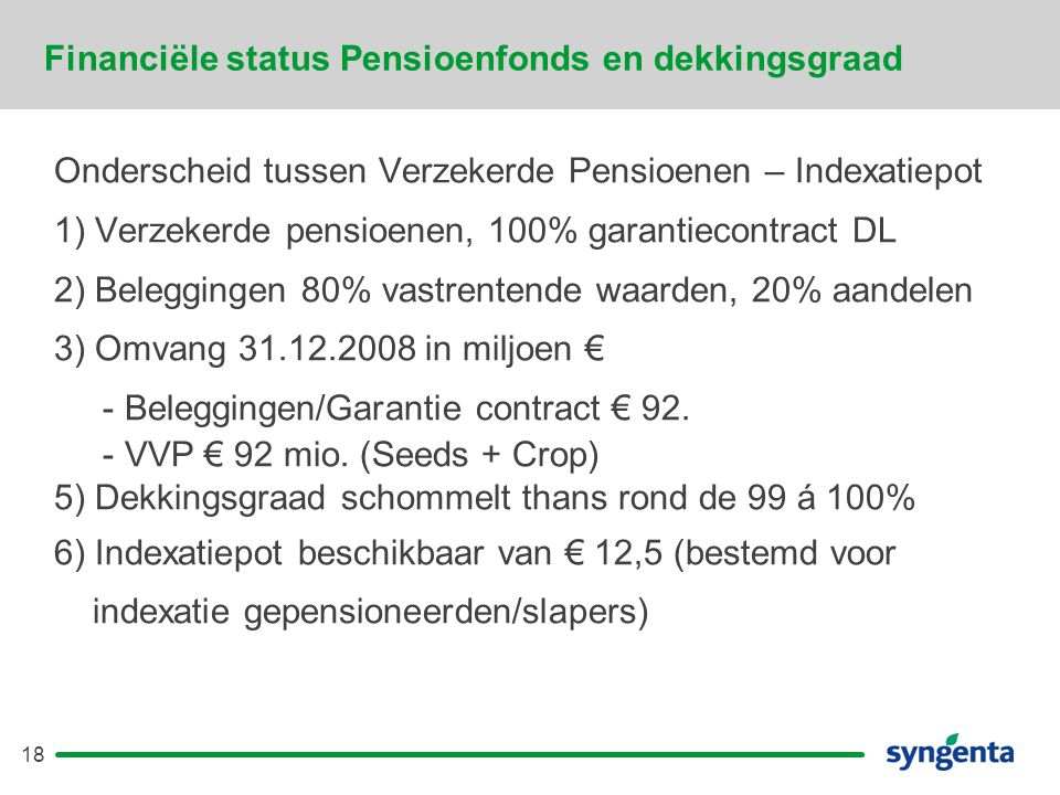 18 Financiële status Pensioenfonds en dekkingsgraad Onderscheid tussen Verzekerde Pensioenen – Indexatiepot 1) Verzekerde pensioenen, 100% garantiecontract DL 2) Beleggingen 80% vastrentende waarden, 20% aandelen 3) Omvang 31.12.2008 in miljoen € - Beleggingen/Garantie contract € 92.