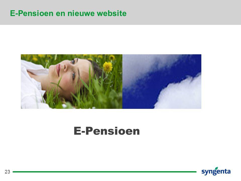 23 E-Pensioen en nieuwe website E-Pensioen