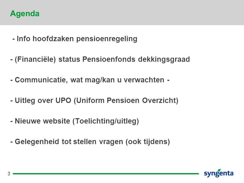 3 Agenda - Info hoofdzaken pensioenregeling - (Financiële) status Pensioenfonds dekkingsgraad - Communicatie, wat mag/kan u verwachten - - Uitleg over UPO (Uniform Pensioen Overzicht) - Nieuwe website (Toelichting/uitleg) - Gelegenheid tot stellen vragen (ook tijdens)
