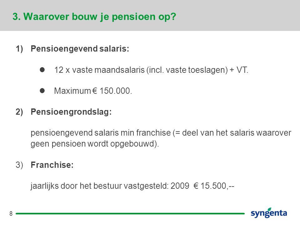 8 3.Waarover bouw je pensioen op. 1)Pensioengevend salaris:  12 x vaste maandsalaris (incl.