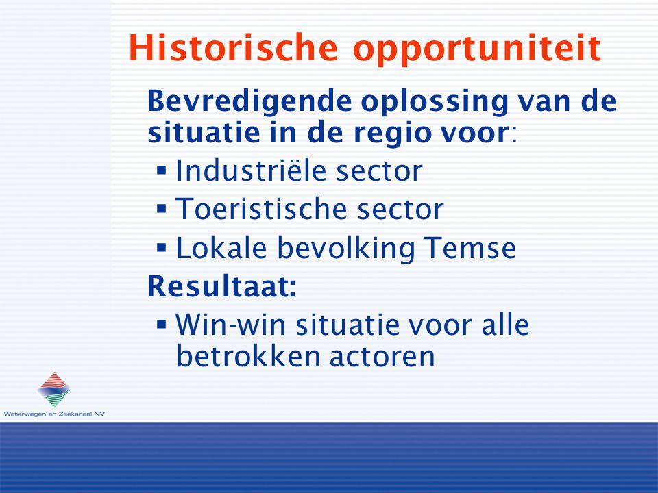 Historische opportuniteit Bevredigende oplossing van de situatie in de regio voor:  Industriële sector  Toeristische sector  Lokale bevolking Temse Resultaat:  Win-win situatie voor alle betrokken actoren