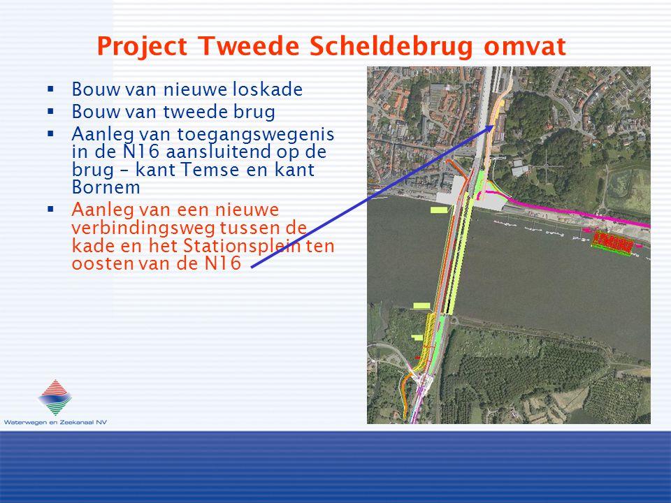 Project Tweede Scheldebrug omvat  Bouw van nieuwe loskade  Bouw van tweede brug  Aanleg van toegangswegenis in de N16 aansluitend op de brug – kant Temse en kant Bornem  Aanleg van een nieuwe verbindingsweg tussen de kade en het Stationsplein ten oosten van de N16