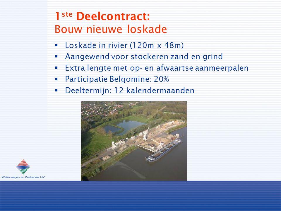 1 ste Deelcontract: Bouw nieuwe loskade  Loskade in rivier (120m x 48m)  Aangewend voor stockeren zand en grind  Extra lengte met op- en afwaartse aanmeerpalen  Participatie Belgomine: 20%  Deeltermijn: 12 kalendermaanden