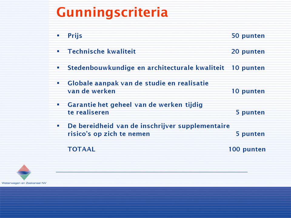 Gunningscriteria  Prijs50 punten  Technische kwaliteit20 punten  Stedenbouwkundige en architecturale kwaliteit10 punten  Globale aanpak van de stu
