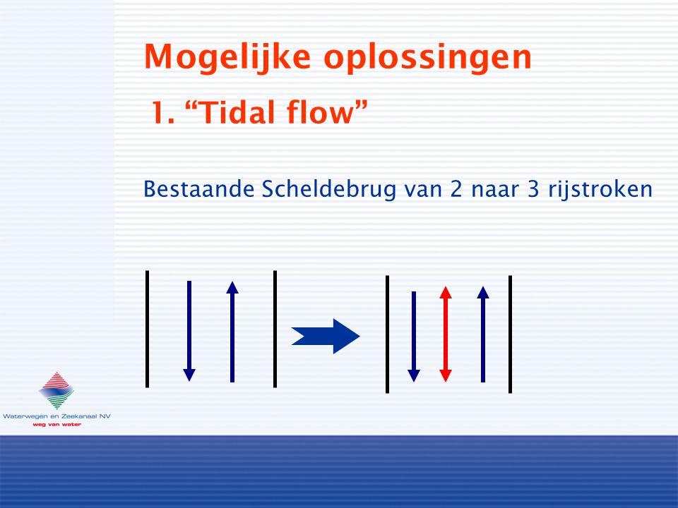 """Mogelijke oplossingen 1. """"Tidal flow"""" Bestaande Scheldebrug van 2 naar 3 rijstroken"""