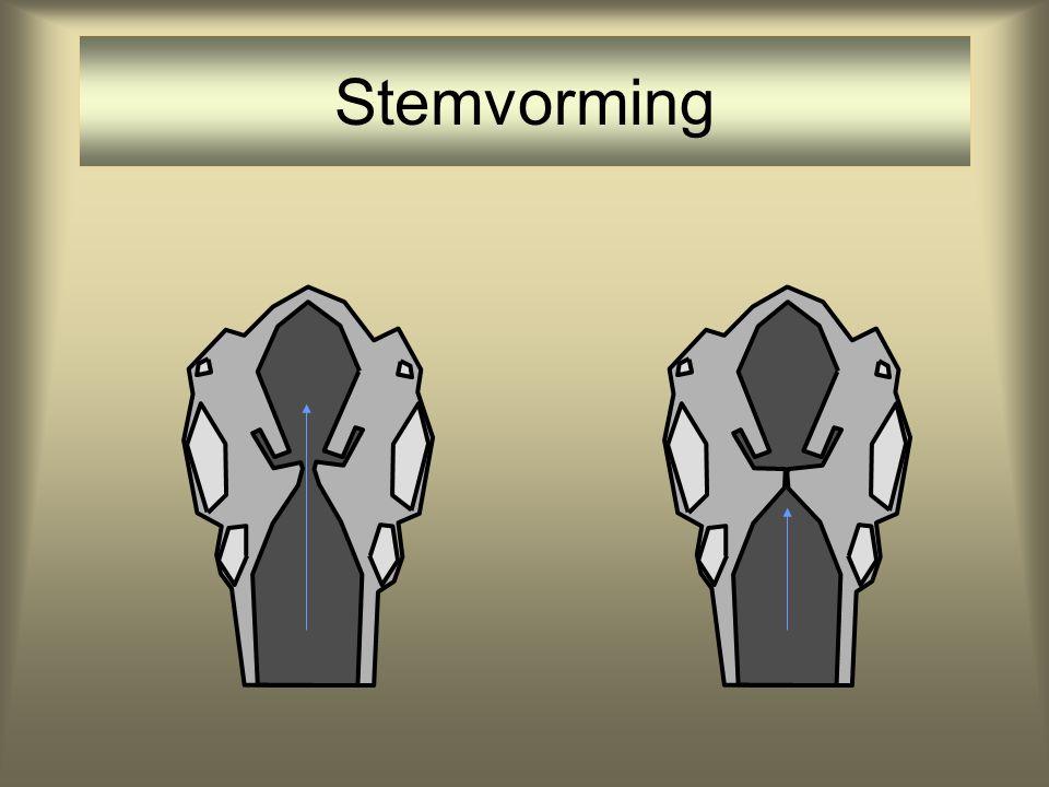 Bij mens nevenfunctie: stemvorming stemvorming •Door het periodiek open en dicht gaan van de glottis: periodieke variatie in de luchtdruk in de mond-k
