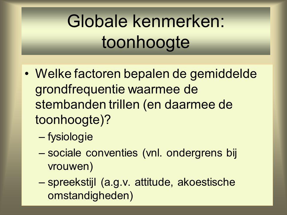 Globale kenmerken: stemkwaliteit •normale fonatie vs. geen fonatie •fluisterfonatie •kraak/kraakstemfonatiekraak/kraakstemfonatie •falsettofonatie