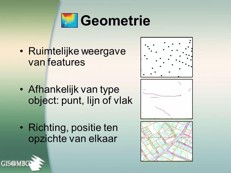 Geometrie •Ruimtelijke weergave van features •Afhankelijk van type object: punt, lijn of vlak •Richting, positie ten opzichte van elkaar
