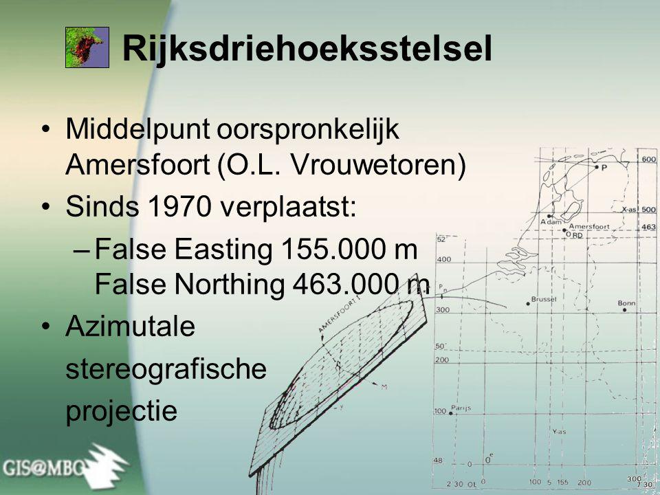 Rijksdriehoeksstelsel •Middelpunt oorspronkelijk Amersfoort (O.L. Vrouwetoren) •Sinds 1970 verplaatst: –False Easting 155.000 m False Northing 463.000
