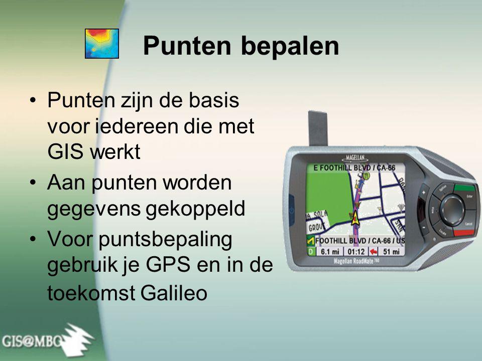 Punten bepalen •Punten zijn de basis voor iedereen die met GIS werkt •Aan punten worden gegevens gekoppeld •Voor puntsbepaling gebruik je GPS en in de