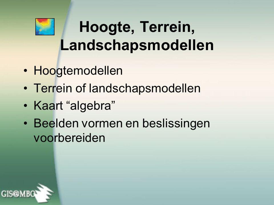 """Hoogte, Terrein, Landschapsmodellen •Hoogtemodellen •Terrein of landschapsmodellen •Kaart """"algebra"""" •Beelden vormen en beslissingen voorbereiden"""
