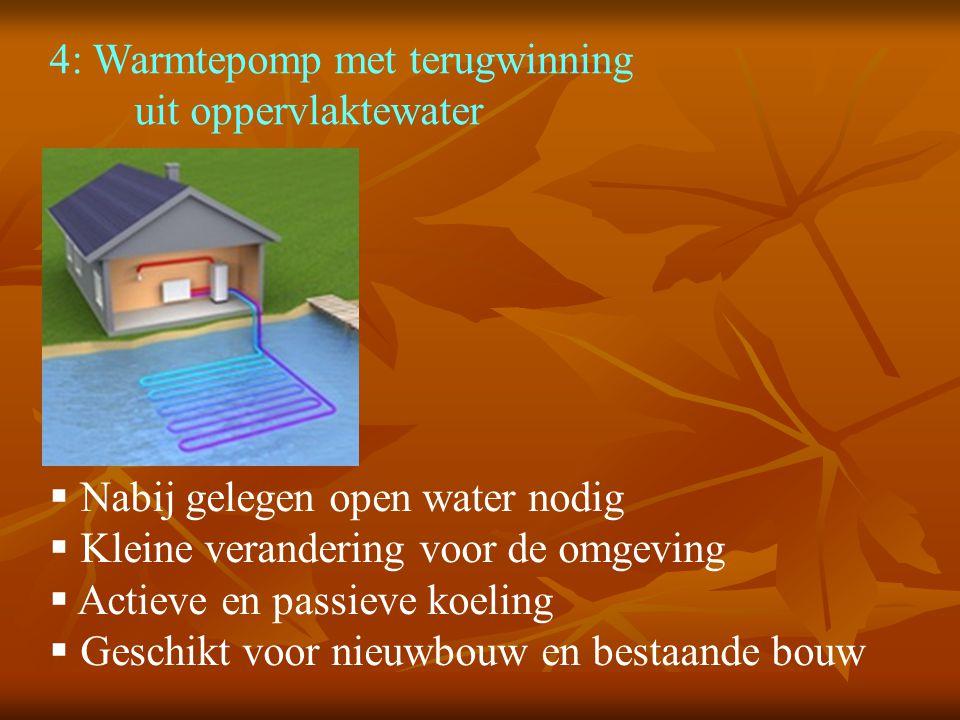 4: Warmtepomp met terugwinning uit oppervlaktewater  Nabij gelegen open water nodig  Kleine verandering voor de omgeving  Actieve en passieve koeli