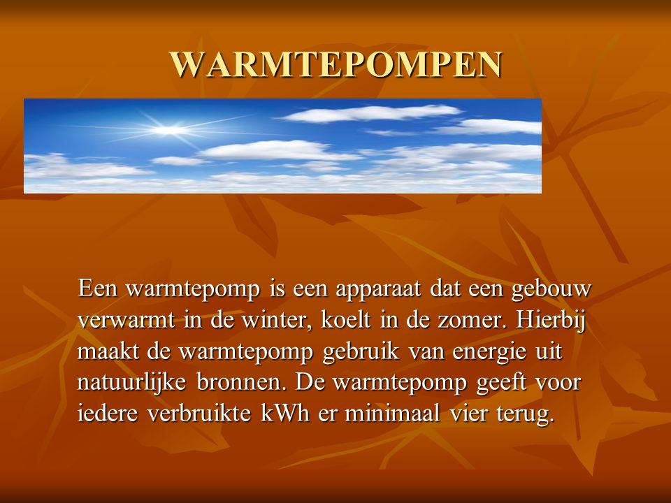 WARMTEPOMPEN Een warmtepomp is een apparaat dat een gebouw verwarmt in de winter, koelt in de zomer. Hierbij maakt de warmtepomp gebruik van energie u
