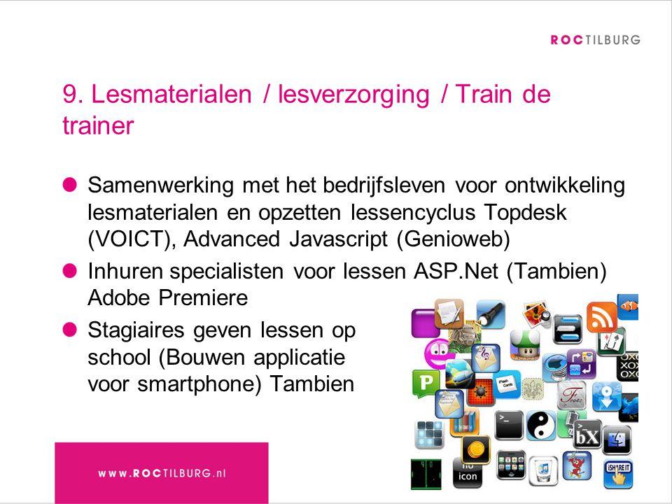 9. Lesmaterialen / lesverzorging / Train de trainer Samenwerking met het bedrijfsleven voor ontwikkeling lesmaterialen en opzetten lessencyclus Topdes