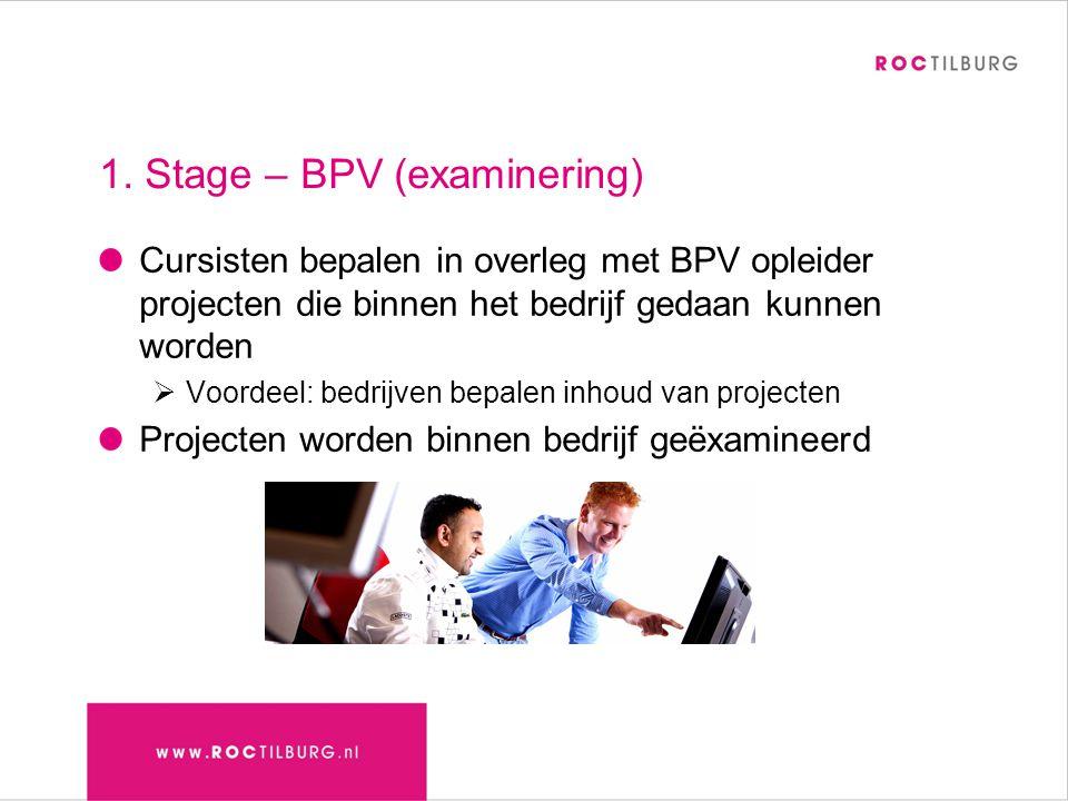 1. Stage – BPV (examinering) Cursisten bepalen in overleg met BPV opleider projecten die binnen het bedrijf gedaan kunnen worden  Voordeel: bedrijven