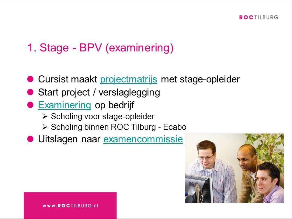 1. Stage - BPV (examinering) Cursist maakt projectmatrijs met stage-opleiderprojectmatrijs Start project / verslaglegging ExamineringExaminering op be