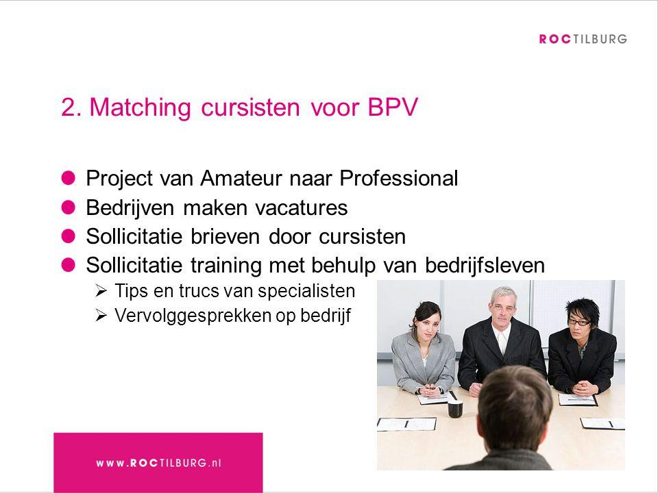2. Matching cursisten voor BPV Project van Amateur naar Professional Bedrijven maken vacatures Sollicitatie brieven door cursisten Sollicitatie traini