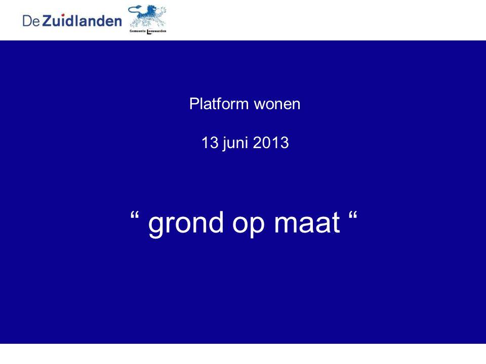 """Platform wonen 13 juni 2013 """" grond op maat """""""