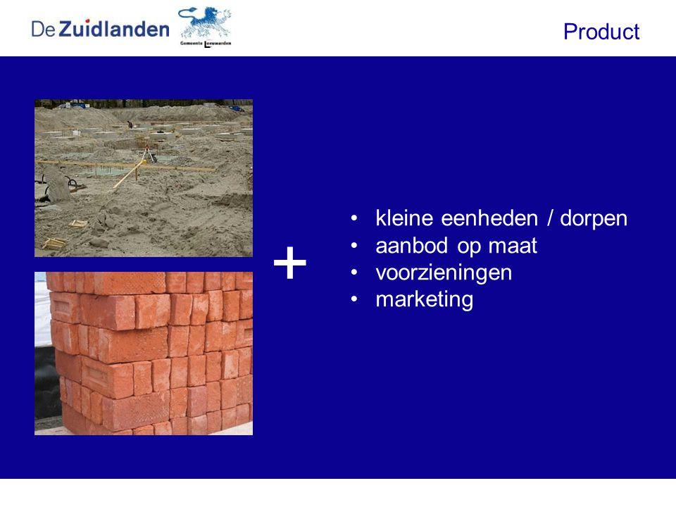 •kleine eenheden / dorpen •aanbod op maat •voorzieningen •marketing Product +