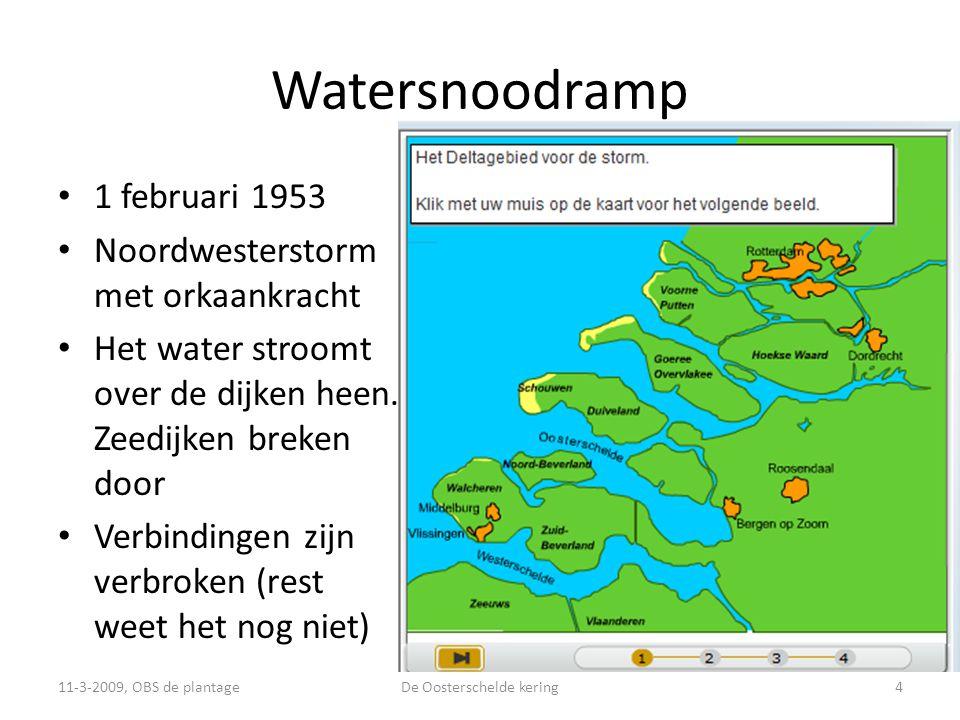 Watersnoodramp • 1 februari 1953 • Noordwesterstorm met orkaankracht • Het water stroomt over de dijken heen.