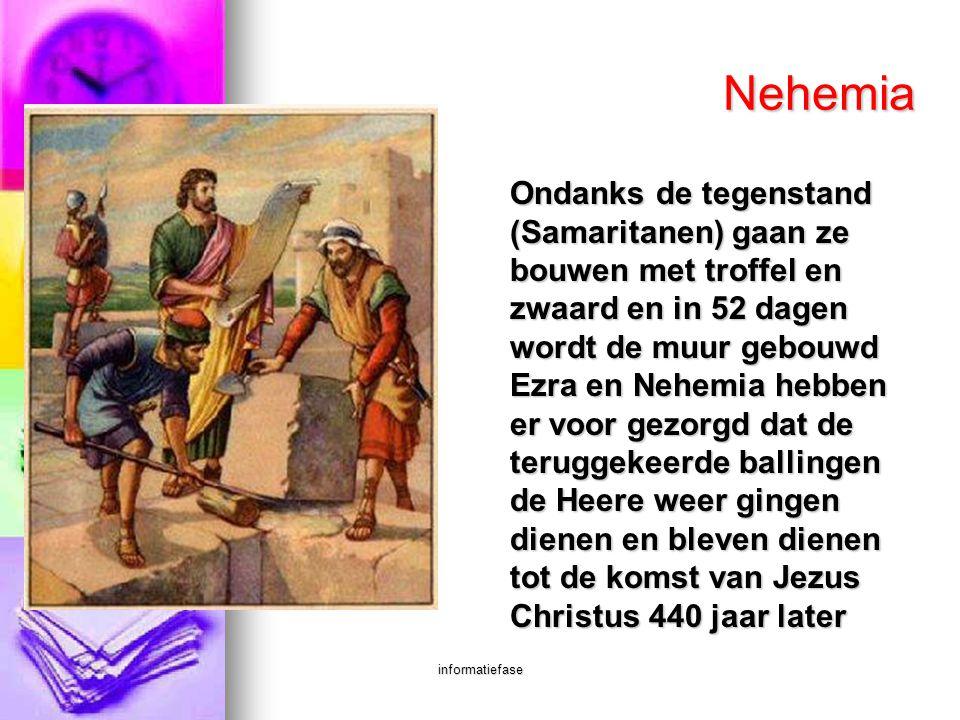 informatiefase Nehemia Ondanks de tegenstand (Samaritanen) gaan ze bouwen met troffel en zwaard en in 52 dagen wordt de muur gebouwd Ezra en Nehemia h