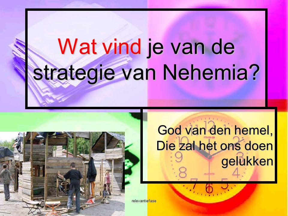 relevantiefase Wat vind je van de strategie van Nehemia? God van den hemel, Die zal het ons doen gelukken