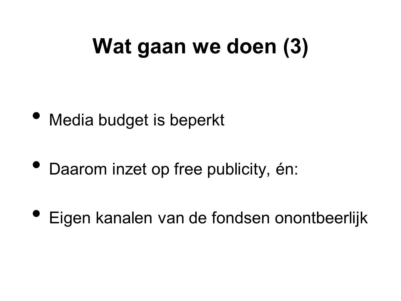 Wat gaan we doen (3) • Media budget is beperkt • Daarom inzet op free publicity, én: • Eigen kanalen van de fondsen onontbeerlijk