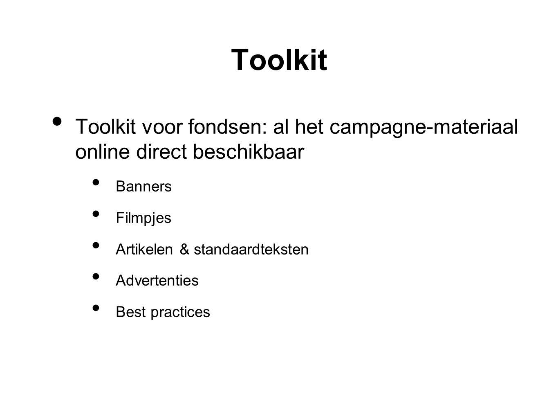 Toolkit • Toolkit voor fondsen: al het campagne-materiaal online direct beschikbaar • Banners • Filmpjes • Artikelen & standaardteksten • Advertenties • Best practices