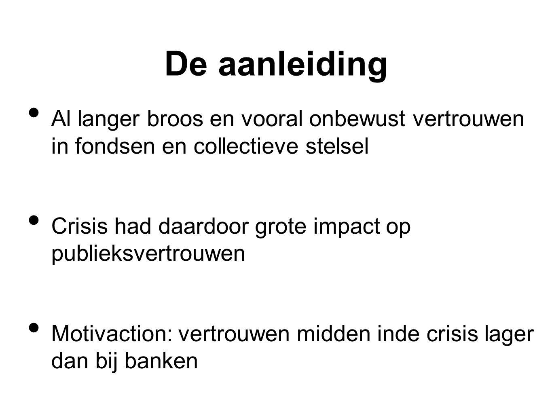 De aanleiding • Al langer broos en vooral onbewust vertrouwen in fondsen en collectieve stelsel • Crisis had daardoor grote impact op publieksvertrouw