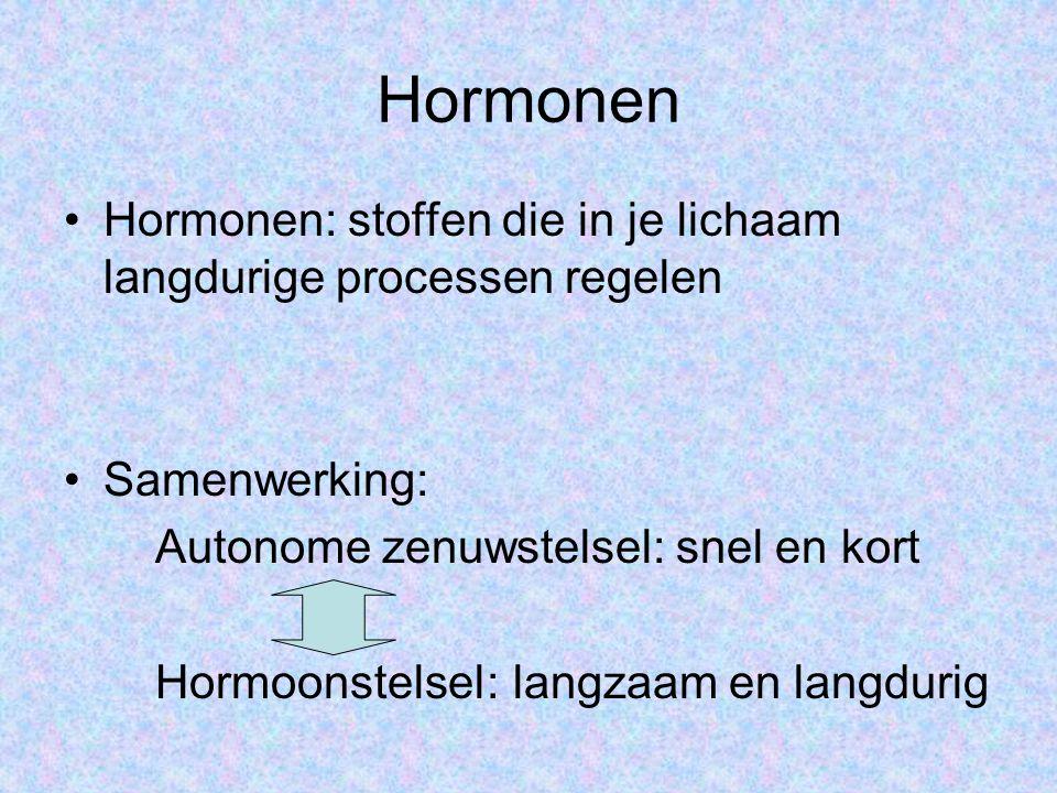 Hormonen •Hormonen: stoffen die in je lichaam langdurige processen regelen •Samenwerking: Autonome zenuwstelsel: snel en kort Hormoonstelsel: langzaam