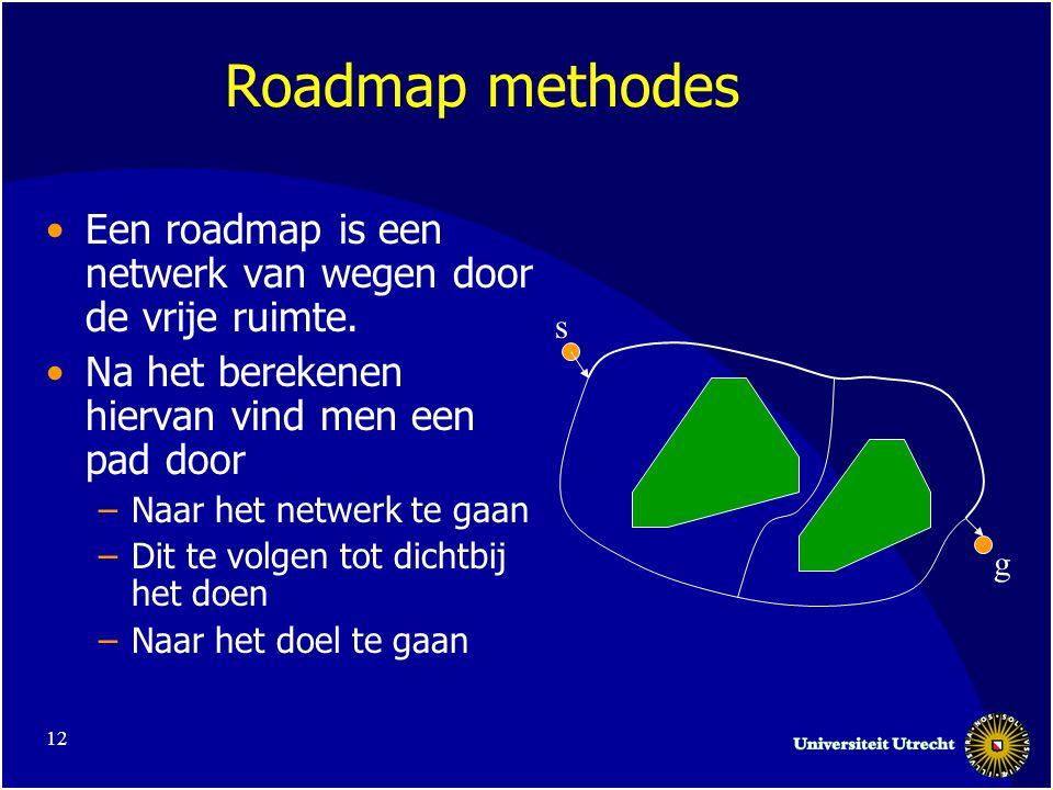 12 Roadmap methodes •Een roadmap is een netwerk van wegen door de vrije ruimte.