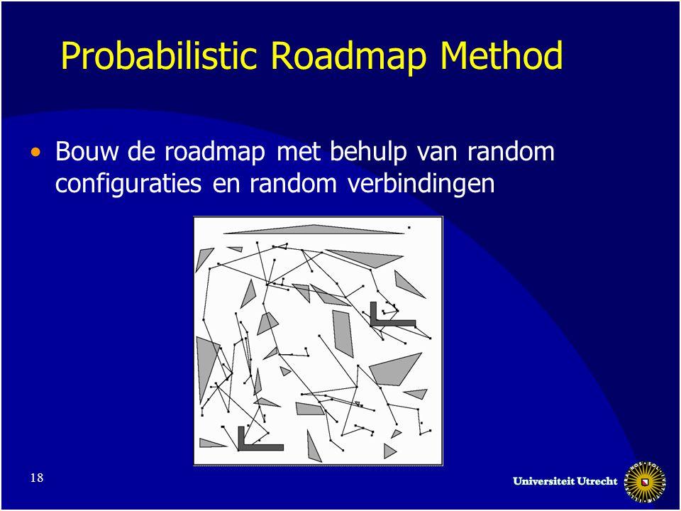 18 Probabilistic Roadmap Method •Bouw de roadmap met behulp van random configuraties en random verbindingen