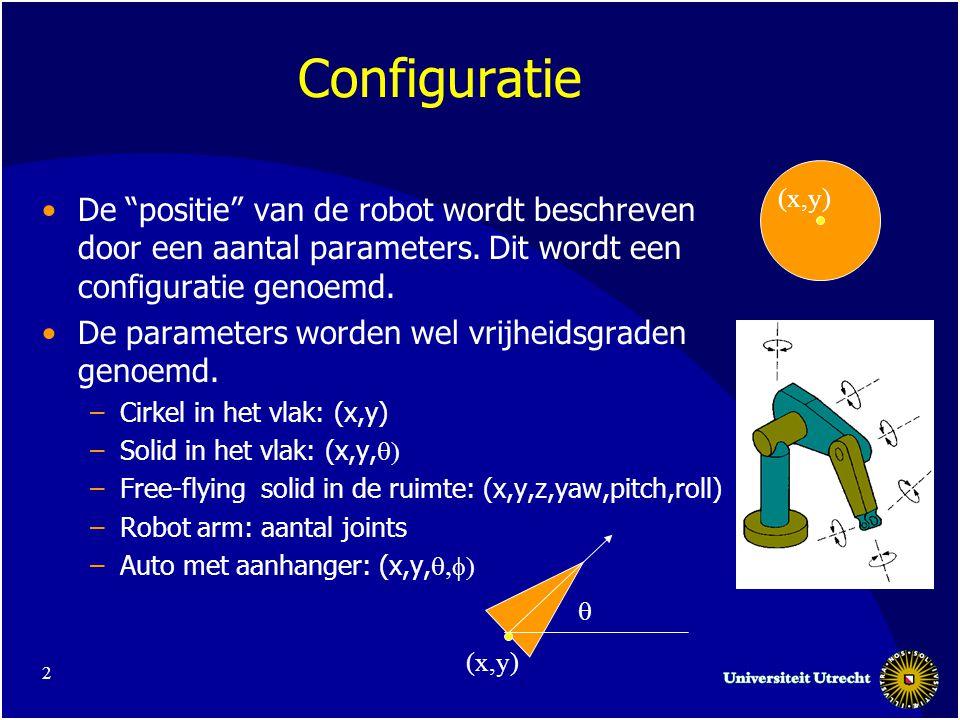 3 Configuratieruimte •De ruimte C van alle configuraties voor de robot.