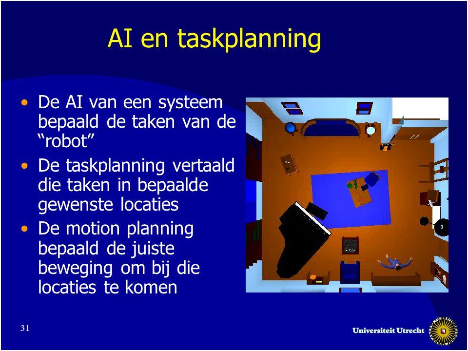 31 AI en taskplanning •De AI van een systeem bepaald de taken van de robot •De taskplanning vertaald die taken in bepaalde gewenste locaties •De motion planning bepaald de juiste beweging om bij die locaties te komen