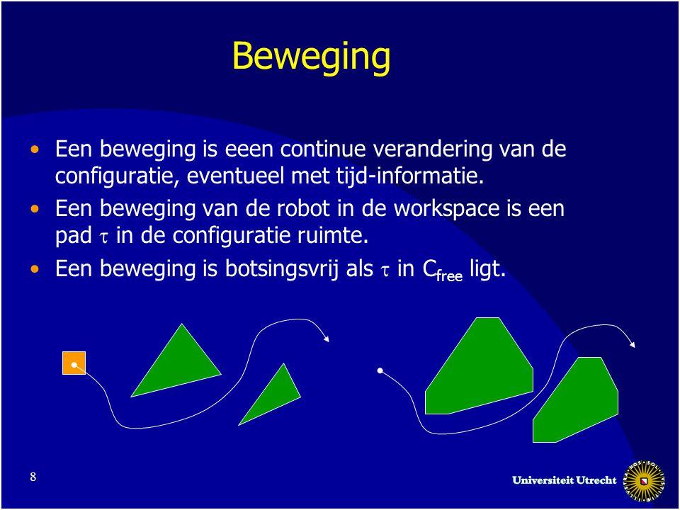 8 Beweging •Een beweging is eeen continue verandering van de configuratie, eventueel met tijd-informatie.