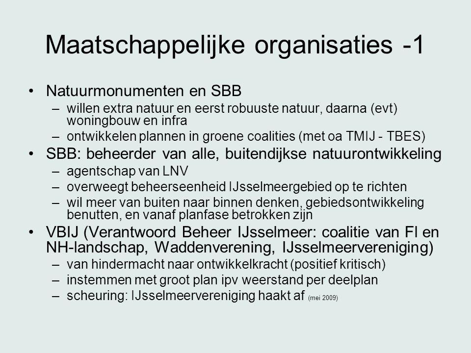 Maatschappelijke organisaties -1 •Natuurmonumenten en SBB –willen extra natuur en eerst robuuste natuur, daarna (evt) woningbouw en infra –ontwikkelen plannen in groene coalities (met oa TMIJ - TBES) •SBB: beheerder van alle, buitendijkse natuurontwikkeling –agentschap van LNV –overweegt beheerseenheid IJsselmeergebied op te richten –wil meer van buiten naar binnen denken, gebiedsontwikkeling benutten, en vanaf planfase betrokken zijn •VBIJ (Verantwoord Beheer IJsselmeer: coalitie van Fl en NH-landschap, Waddenverening, IJsselmeervereniging) –van hindermacht naar ontwikkelkracht (positief kritisch) –instemmen met groot plan ipv weerstand per deelplan –scheuring: IJsselmeervereniging haakt af (mei 2009)