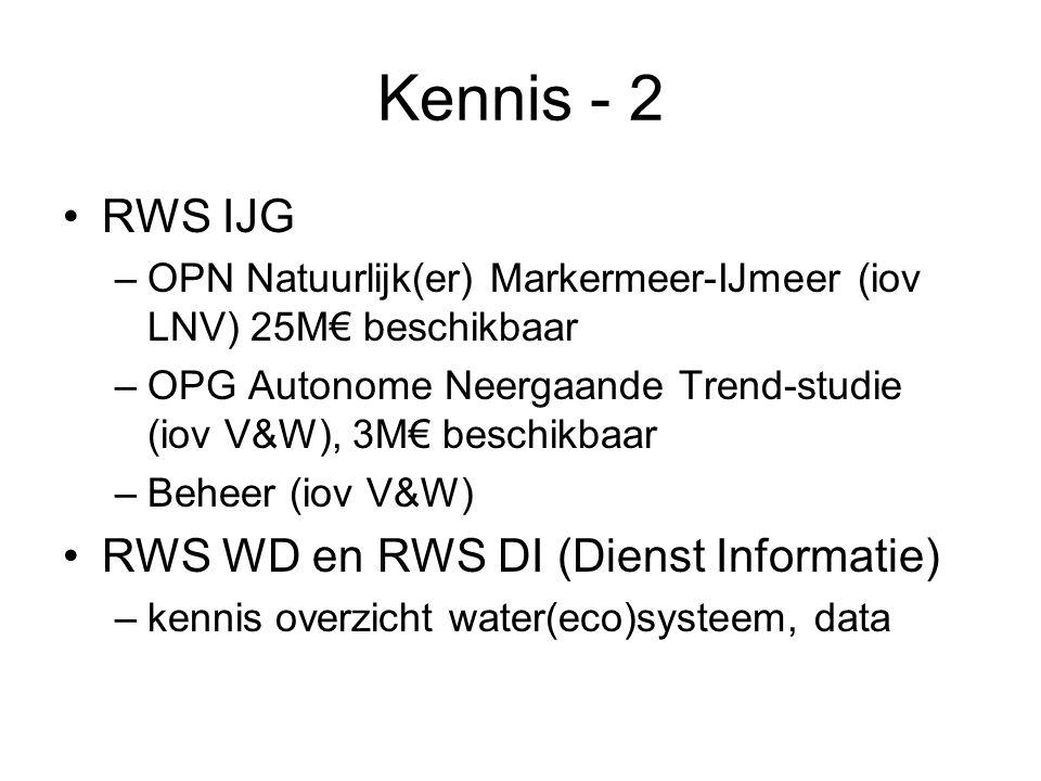 Kennis - 2 •RWS IJG –OPN Natuurlijk(er) Markermeer-IJmeer (iov LNV) 25M€ beschikbaar –OPG Autonome Neergaande Trend-studie (iov V&W), 3M€ beschikbaar –Beheer (iov V&W) •RWS WD en RWS DI (Dienst Informatie) –kennis overzicht water(eco)systeem, data