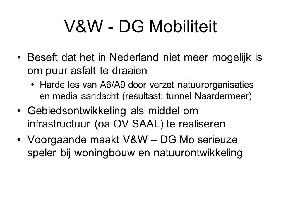 V&W - DG Mobiliteit •Beseft dat het in Nederland niet meer mogelijk is om puur asfalt te draaien •Harde les van A6/A9 door verzet natuurorganisaties en media aandacht (resultaat: tunnel Naardermeer) •Gebiedsontwikkeling als middel om infrastructuur (oa OV SAAL) te realiseren •Voorgaande maakt V&W – DG Mo serieuze speler bij woningbouw en natuurontwikkeling