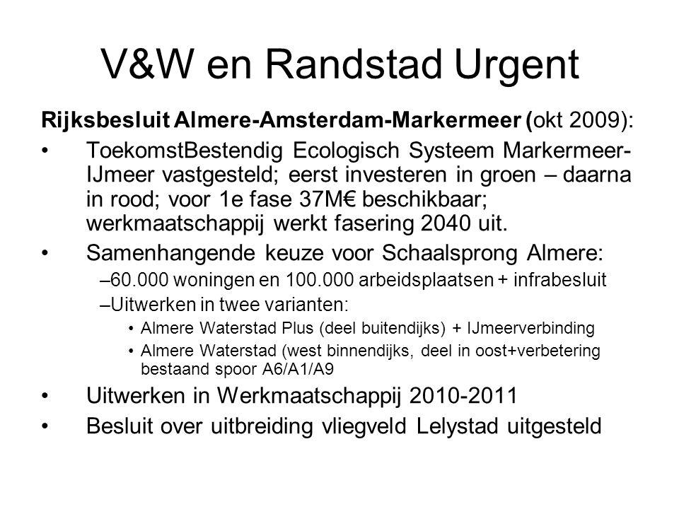 V&W en Randstad Urgent Rijksbesluit Almere-Amsterdam-Markermeer (okt 2009): •ToekomstBestendig Ecologisch Systeem Markermeer- IJmeer vastgesteld; eerst investeren in groen – daarna in rood; voor 1e fase 37M€ beschikbaar; werkmaatschappij werkt fasering 2040 uit.