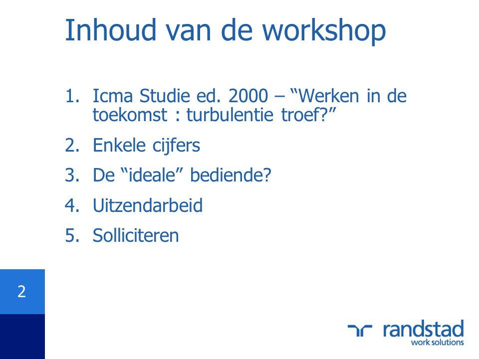 """2 Inhoud van de workshop 1.Icma Studie ed. 2000 – """"Werken in de toekomst : turbulentie troef?"""" 2.Enkele cijfers 3.De """"ideale"""" bediende? 4.Uitzendarbei"""