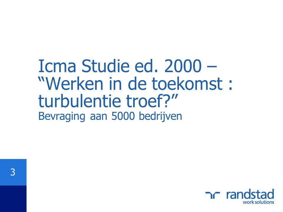 """3 Icma Studie ed. 2000 – """"Werken in de toekomst : turbulentie troef?"""" Bevraging aan 5000 bedrijven"""