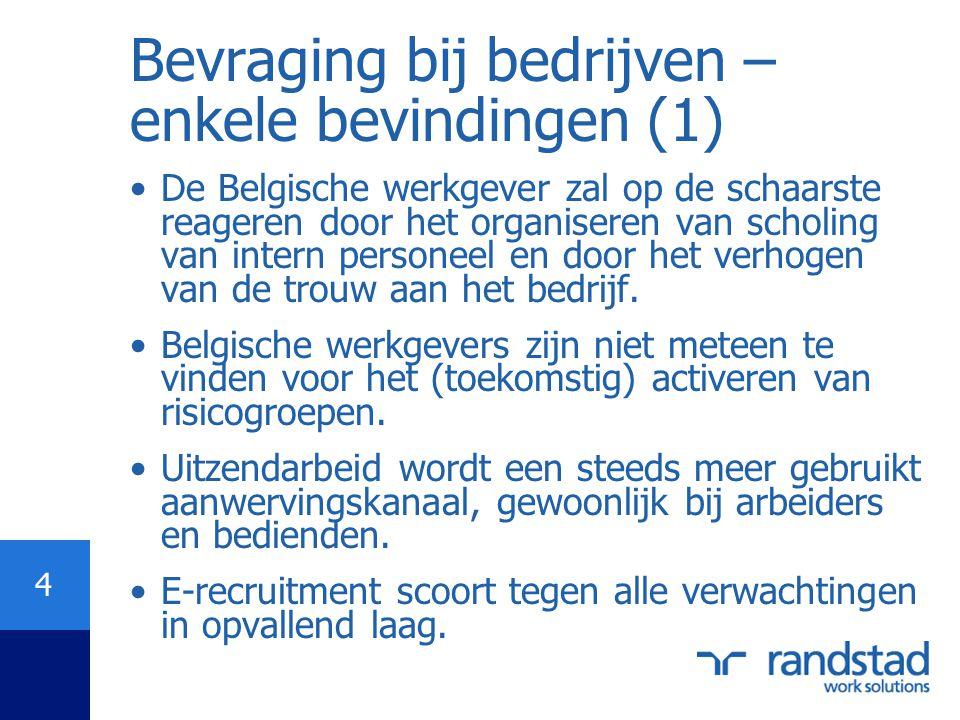 4 Bevraging bij bedrijven – enkele bevindingen (1) •De Belgische werkgever zal op de schaarste reageren door het organiseren van scholing van intern p