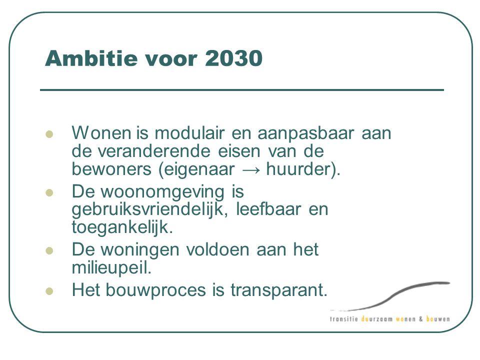 Ambitie voor 2030  Wonen is modulair en aanpasbaar aan de veranderende eisen van de bewoners (eigenaar → huurder).  De woonomgeving is gebruiksvrien